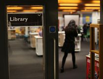 A student enters a library. (Peter Macdiarmid/Getty Images)