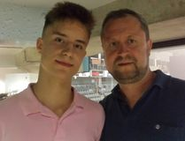 Sixteen-year-old Russian-born Sergey Popov (left) and his dad, also named Sergey, in Kingston on Friday as part of orientation weekend for the Kingston Frontenacs. (Doug Graham/The Whig-Standard)