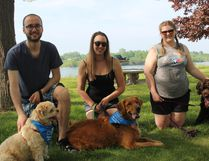 Some of the participants in Saturday's dog walk portion of the Bike-a-Thon Plus, at St. Lawrence College.
