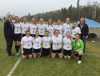 St. Thomas Aquinas Saints girls won the NWOSSAA 'A' soccer title with two straight wins against the Marathon High School Falcons. SUPPLIED