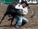 Russell Cardoza, of Terrebonne, Oregon, competes in steer wrestling at the 39th annual Grande Prairie Stompede on Saturday at Evergreen Park in the County of Grande Prairie. Logan Clow/Grande Prairie Daily Herald-Tribune