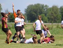 Regi's Charlee Robinson scores a try in a 15-12 win over Stouffville in a first-round game at the OFSAA triple-A girls rugby championship in Ottawa on Monday. (OFSAA photo)