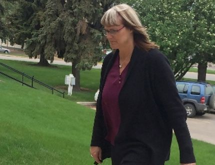 Angela Nicholson arrives at court in Prince Albert, Sask., Tuesday, May 24, 2016. Nicholson and Curtis Vey are accused of plotting to kill their spouses. Police believe the two accused were having an extramarital affair.THE CANADIAN PRESS/Jennifer Graham