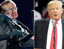 "British physicist, Professor Stephen Hawking, left, and Republican presidential candidate Donald Trump, right, are pictured in file photos. Hawking was interviewed on British TV May 30, 2016, saying he cannot fathom the popularity of presumptive candidate for U.S. president Donald Trump, saying he ""seems to appeal to the lowest common denominator."" (AP File Photos)"