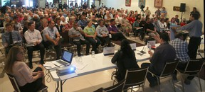 More than 250 people showed up Tuesday evening to hear the City of Ottawa's consultation session on the Mooney's Bay Park Playground. The playground is to be Canada's largest and will be featured in a TVO reality show while it's being built for Canada's 150th birthday in 2017. Julie Oliver/Postmedia