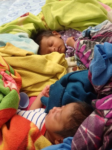 Twins were born in the village of San Andres a few days before a Change for Children brigade arrived to set up a dental clinic in Nicaragua's Bosawas Biosphere Reserve in February 2016. (Max Maudie photo)