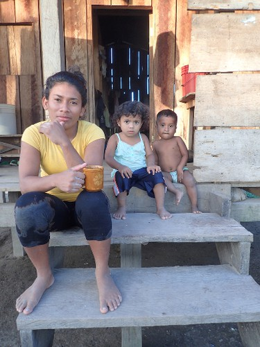 A woman and two children in the village of San Andres in Nicaragua's Bosawas Biosphere Reserve in February 2016. A Change for Children dental clinic had been set up in the village. (Max Maudie photo)