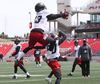 Khalil Paden (in the air) and Chris Williams of the Redblacks go through catching drills during a mini camp at TD Place in Ottawa on April 25, 2016. (Jean Levac/Postmedia)