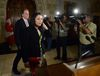 Minister of Democratic Institutions Maryam Monsef is joined by fellow MP Mark Holland, left, as they arrive to speak to reporters in the foyer of the house of commons on Parliament Hill in Ottawa on Thursday, June 2, 2016. THE CANADIAN PRESS/Sean Kilpatrick