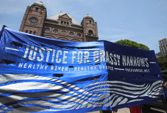 Hundreds gathered at Queen's Park and marched to Allan Gardens on Thursday June 2, 2016. Grassy Narrows First Nation and neighbouring communities are requesting  the clean up of the Wabigoon River after a paper mill dumped toxic waste into the river, which opened 45 years ago. The residents insist that they suffer from debilitating health issues resulting from unhealthy drinking water.  Veronica Henri/Toronto Sun/Postmedia Network