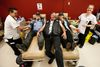 Tom Bottolfs of the Canadian Lonewolves Independent Riders, centre, gets in on the action as his wife, Lisa Bottolfs, and Ron Blackburn donate blood under the watchful eyes of phlebotomists Harlee Courtepatte and Lesley MacQueen at the Edmonton Blood Donor Clinic on Saturday, June 4, 2016.