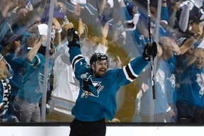Joonas Donskoi of the San Jose Sharks celebrates his game-winning goal against the Pittsburgh Penguins at the SAP Center in San Jose on June 4, 2016. (Getty)
