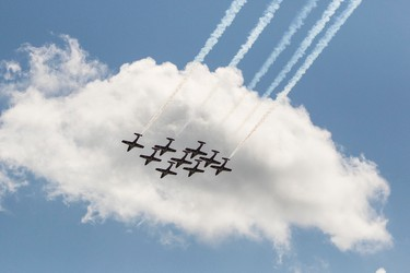 The CF Snowbirds take to the sky at Southport Airport during the 2016 Manitoba Air Show in Portage-Southport, Man. on Saturday, June 4, 2016. The Snowbirds have now performed 2,524 shows since their inception in 1971. (Brook Jones/Postmedia Network)