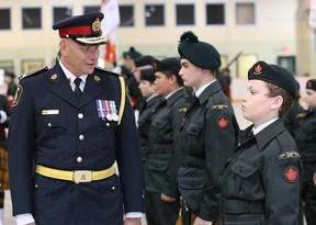 Greater Sudbury Police Chief Paul Pedersen, left, inspects cadets at the 2915 Second Battalion Irish Regiment of Canada Royal Canadian Army Cadet Corps annual inspection at the arena in Capreol on Saturday. John Lappa/Sudbury Star/Postmedia Network