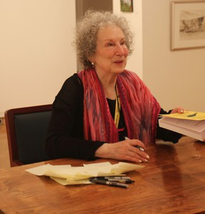 """Margaret Atwood signed books for fans after reading from her short fiction collection, """"Stone Mattress: Nine Wicked Tales"""" at the Blyth Festival theatre on June 2 as a part of the Alice Munro Festival of the Short Story. (Laura Broadley Goderich Signal Star)"""