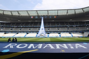 A picture taken on June 8, 2016 shows a partial view of the the Stade de France in Saint-Denis before the Euro 2016 opening match France vs Romania, to be held in two days. (AFP PHOTO/KENZO TRIBOUILLARD)
