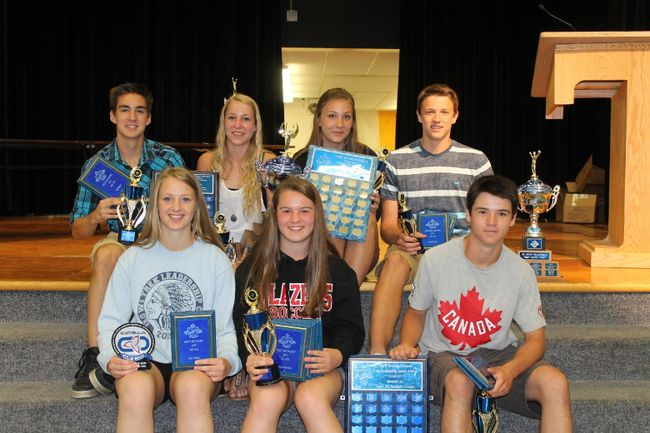 <p>Major award winners at the Tagwi Secondary School athletic banquet include, in front, from left, Elise Solesme (OFSAA Colin Hood Award - graduating female), Georgia Merriman (top junior female athlete) and Keeton Merriman (top junior male athlete). In back are Will Manley (top senior male athlete), Mikayla Elliott (top senior female athlete), Mikaela Schellenberg (top academics and athletics - female)  and Jordan Canham (top academics and athletics - male).Handout/Cornwall Standard-Freeholder/Postmedia Network