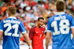 Portugal's forward Cristiano Ronaldo gestures during a friendly match between Portugal and Estonia at Luz stadium in Lisbon on June 8, 2016. (AFP PHOTO/PATRICIA DE MELO MOREIRA)