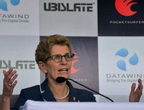 Ontario Premier Kathleen Wynne makes a speech in India on January 31, 2016. NARINDER NANU/AFP/Getty Images