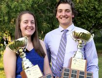 Ashley Jackson, left, and Kelton Evans of McGregor won the Dr. Jack Parry Awards as the top graduating high school student-athletes in Chatham-Kent on Thursday. (MARK MALONE/The Daily News)