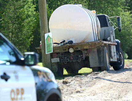 The driver of this water truck has died following a construction incident south of Sebringville. (The Beacon Herald file photo)
