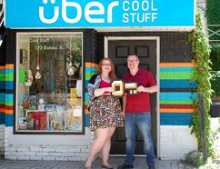 """Outgoing Uber Cool owner Chris McInnes (right) is handing off his downtown London """"Geek Boutique"""" to employee Kayla Gibbens. (Photo submitted)"""