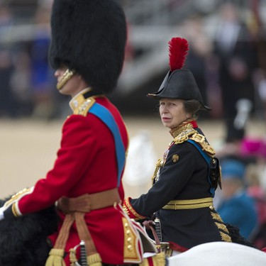 Britain's Princess Anne, Princess Royal (R) arrives at Horse Guards Parade during the Queen's Birthday Parade, 'Trooping the Colour', in London on June 11, 2016. Trooping The Colour and the fly-past are part of a weekend of events to celebrate the Queen's 90th birthday. / AFP PHOTO / OLI SCARFF
