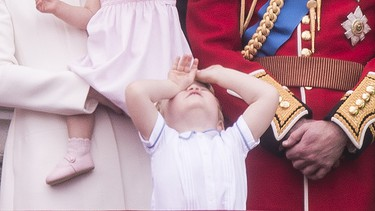 """We all know it's Queen Elizabeth's big day, but that didn't stop her great-grandson Prince George from stealing the spotlight. The two-year-old son of Prince William and Duchess Kate Middleton appeared on the Buckingham Palace blacony alongside his parents, grandparents, and great grandparents to watch the """"Trooping of the Colour"""".The young royal looked on in awe, waved to the crowd, and essentially swooned us all with his cuteness, George's closest rival? His baby sister Princess Charlotte, making her balcony debut.(WENN.com)"""