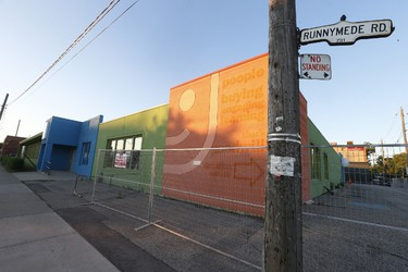 Close to 500 area residents who showed up to a public meeting at Archbishop Romero Catholic S.S. to voice their opinions as the city plans to ram through a 100-bed men's homeless shelter at 731 Runnymede Road (pictured) - a former Goodwill Site - just south of St. Clair Ave. W. in Ward 11 on Thursday June 9, 2016. Jack Boland/Toronto Sun/Postmedia Network