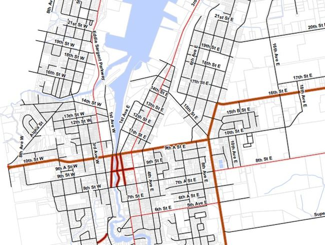 The map included in Owen Sound's off-road vehicles bylaw. The red lines delineate the streets where off-road vehicles are not permitted to travel.