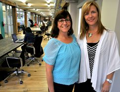 Lina Bowden, volunteer social finance consultant (left), and Michelle Baldwin, executive director of Pillar Nonprofit Network, inside Innovation Works on King Street in London Ont. June 15, 2016. CHRIS MONTANINI\LONDONER\POSTMEDIA NETWORK