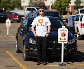 For a story by Elise Stolte EDMONTON, AB.--Alan Davidson Fleet Manger, with TappCar at the Bonnie Doon Mall on June, 15 2016. (Greg Southam-Postmedia)
