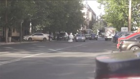 A robot named Promobot escaped from a laboratory in Russia, but then caused a traffic jam when its battery ran out in the middle of the street. (Promobot/YouTube screengrab)