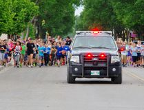 About 150 middle and high school students took over Stephen Street in Morden June 14 for the second Law Enforcement Torch Run for Special O. (Alexis Stockford/The Morden Times)