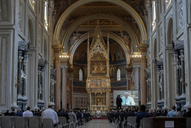 <p>Pope Francis talks during a meditation on mercy at St. John Lateran Basilica, in Rome, Thursday, June 2, 2016.</p><p> L'Osservatore Romano/Pool Photo via AP