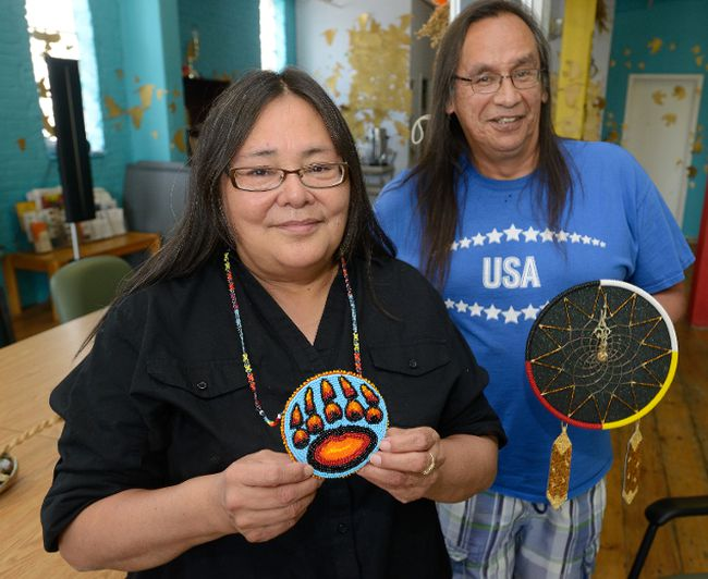 Debra Kennedy and Sanford Cottrell show a dream crafts they made for Aboriginal Solidarity Day festivities next week. Photo taken on Friday June 17, 2016. (MORRIS LAMONT, The London Free Press)