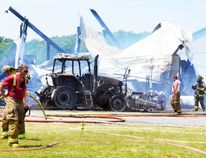 A horse barn and a tractor were destroyed after fire broke out at a farm in Wainfleet Township shortly before noon Saturday. BERND FRANKE/Welland Tribune