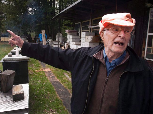 Vladimir Katriuk points at his honeybee farm in Ormstown, Que., Wednesday, April 25, 2012. (THE CANADIAN PRESS/Ryan Remiorz)