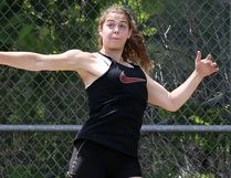 Alison Stephens of Chatham competes in the midget girls' discus at the Royal Canadian Legion district 'A' track and field meet at the Chatham-Kent Community Athletic Complex on Saturday, June 18, 2016. (MARK MALONE/The Daily News)