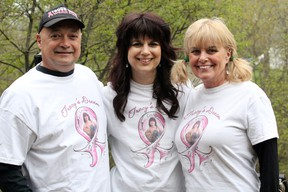 Tracy Dinelle, centre, received great support from her husband, Dennis, and mother, Rena Ross, during her cancer battle. JEFFREY OUGLER/SAULT STAR