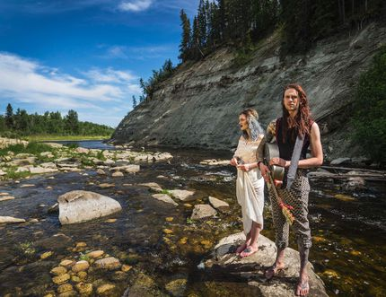 Jo-Jo O'Donoghue, left, and Rylan Woods, right, stand during their recent music video shoot for Old Friends, a song off their six-track EP, Old Friends and Lost Souls. The duo - Jo-Jo O' and The Woods - was awarded $10,000 to shoot a music video in their hometown of Lacombe through TELUS STORYHIVE. (Photo Submitted)