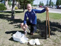 KAYLA ISOMURA HIGH RIVER TIMES/POSTMEDIA NETWORK. Mike Horembala, vice principal at École Secondaire Highwood High School, is teaching a new summer school program for the Foothills School Division that will allow students to learn in a hands-on environment outdoors.