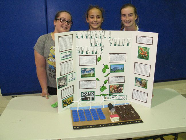 <p>L'Heritage Grade 8 students (from left) Jessica Beauvais-Sauve, Genevieve Grigg and Bridget Lefebvre, with their vision of windmills and solar panels at the former Domtar site, a green project that's part of the school's IB program, on Wednesday June 22, 2016 in Cornwall, Ont.</p><p> Todd Hambleton/Cornwall Standard-Freeholder/Postmedia Network