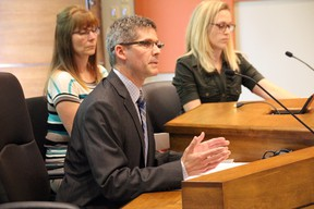 Police and School Protocol committee members Jeremy Hall, along with Jamie Johnston, and Lynda Mitchell gave a presentation to the District School Board Ontario North East trustees on the changes to the board's police and safety polices.