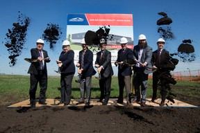 Dignitaries take part in the official groundbreaking of Aeroterm's new, 50,000 square foot, multi-use facility in Edmonton International Airport's Cargo Village, in Edmonton Alta. on Wednesday June 22, 2016. DAVID BLOOM/Postmedia Network