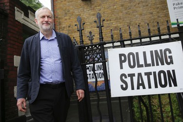 Britain's Labour Party leader Jeremy Corbyn leaves after casting his vote in the EU referendum at a polling station in Islington, London, Thursday, June 23, 2016. (Daniel Leal-Olivas/PA via AP)