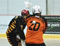 Brantford Warriors player Austin Giles takes a shot in an Ontario Lacrosse Association junior C game from earlier this season. (Brian Smiley/The Expositor)
