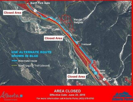 A section of the Legacy Trail near Canmore has been re-routed due to a low compliance with bear safety precautions.