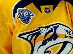 General view of the all-star game logo on the jersey of Nashville Predators defenceman Ryan Ellis during the second period against the Florida Panthers at Bridgestone Arena in Nashville on Dec. 3, 2015. (Christopher Hanewinckel/USA TODAY Sports)