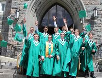 It was a day for celebration and reflection on Thursday as 66 students at O'Gorman High School became high school graduates. 2016 class valedictorian Matthew Cosco, front, second from left, joined a small group of his friends on the front steps of St.Anthony of Padua Cathedral that day, as they ushered in their last day as high school students before receiving their diplomas.